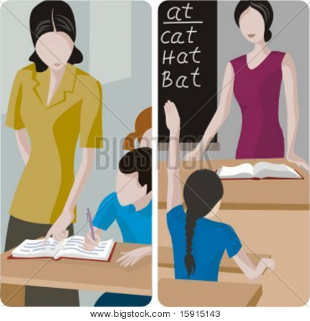 Teacher illustrations series. 1) Elementary teacher looking at a students work. 2) Elementary teacher teaching english in a classroom.