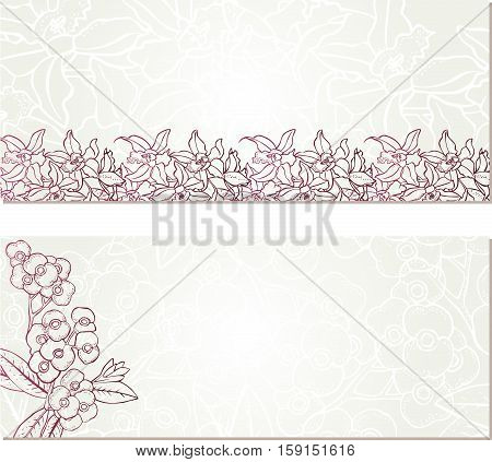 Scalable vectorial image representing a banners with flower, isolated on white.