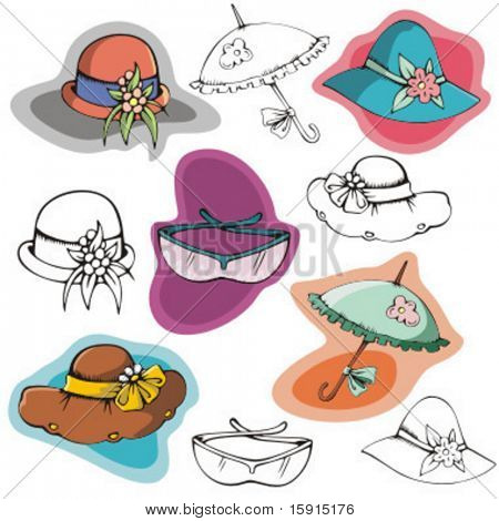 A set of 5 fashion illustrations including hats sunglasses and umbrella, in color and black and white renderings.