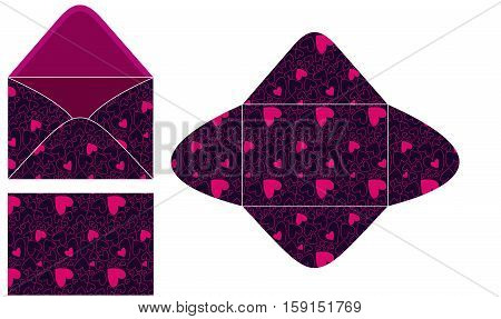 Scalable vectorial image representing a hearts seamless C6 envelope template, isolated on white.