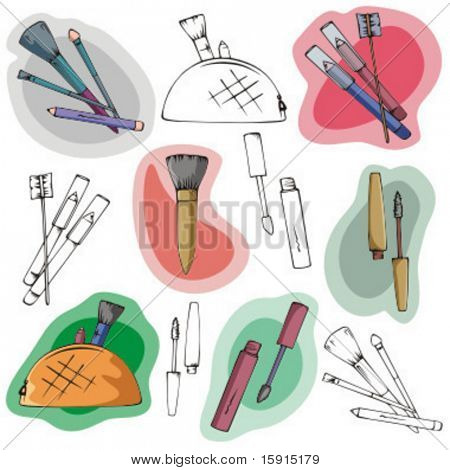 A set of 6 makeup and cosmetics illustrations in color and black and white renderings.