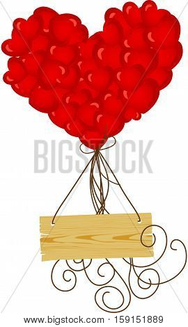 Scalable vectorial image representing a wooden sign flying with heart balloons, isolated on white.
