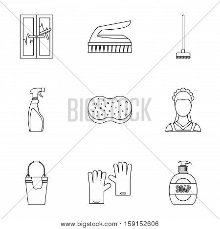 Cleansing icons set. Outline illustration of 9 sanitation vector icons for web