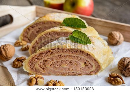 Strudel With Walnut And Apple Filling