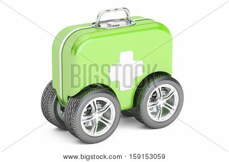 First Aid Kit on Wheels. First Aid concept. 3D rendering isolated on white background