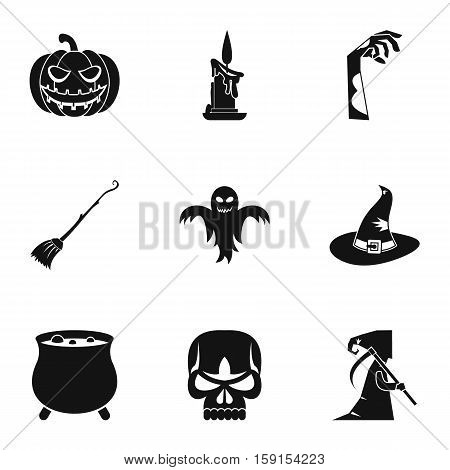 All saints day icons set. Simple illustration of 9 all saints day vector icons for web