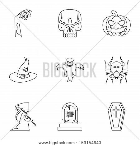 Resurrection of dead icons set. Outline illustration of 9 resurrection of dead vector icons for web