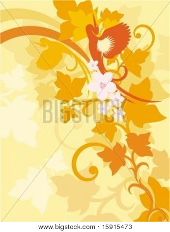 Vector background with floral ornaments and an exotic bird.