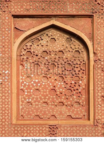 AGRA, INDIA - FEBRUARY 14 : Stone pattern on a temple wall in Red Fort, Agra, UNESCO World heritage site, India on February 14, 2016.