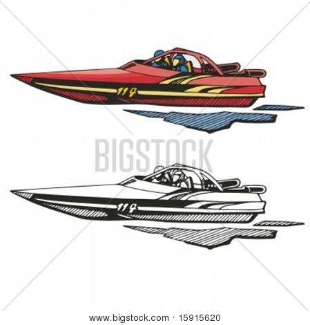 Motor boat. Vector illustration