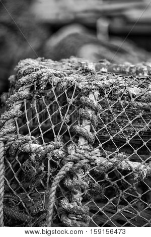 Old Vintage Hand Made Rope Lobster Pot Used In Fishing Industry