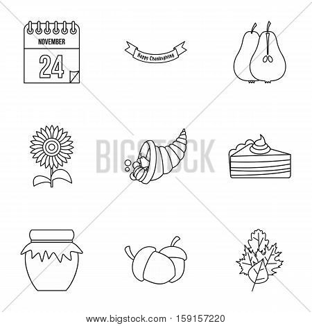 Gratitude celebration icons set. Outline illustration of 9 gratitude celebration vector icons for web