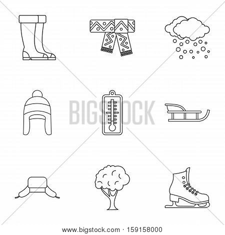 Weather winter icons set. Outline illustration of 9 weather winter vector icons for web