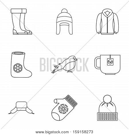 Winter frost icons set. Outline illustration of 9 winter frost vector icons for web