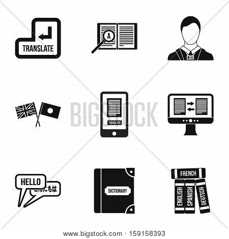 Foreign language icons set. Simple illustration of 9 foreign language vector icons for web