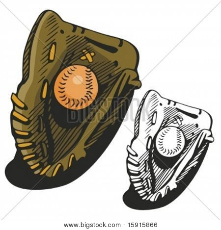 Baseball glove and a ball. Vector illustration