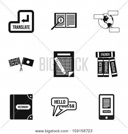 Translation of language icons set. Simple illustration of 9 translation of language vector icons for web