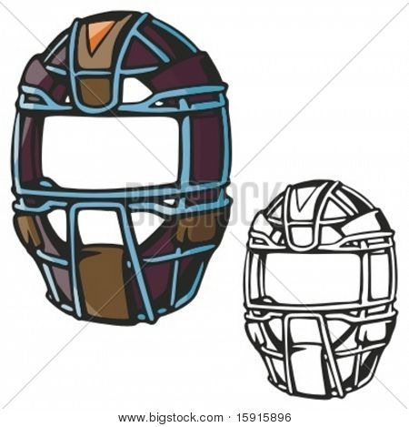 Baseball catcher helmet. Vector illustration