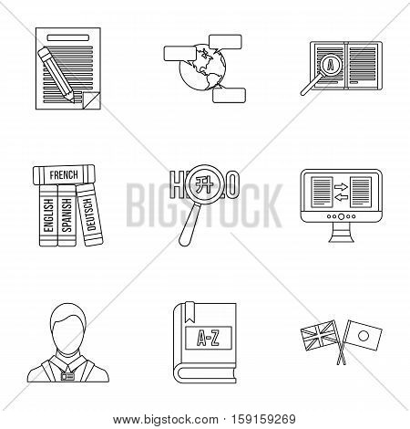 Translation of language icons set. Outline illustration of 9 translation of language vector icons for web
