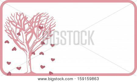 Scalable vectorial image representing a blank label tag with heart tree, isolated on white.