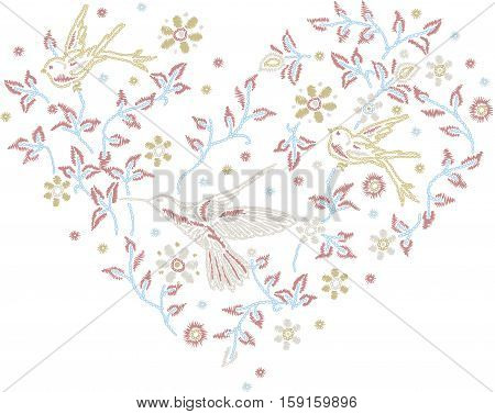 Scalable vectorial image representing a romantic heart shape with flowers and birds, isolated on white.