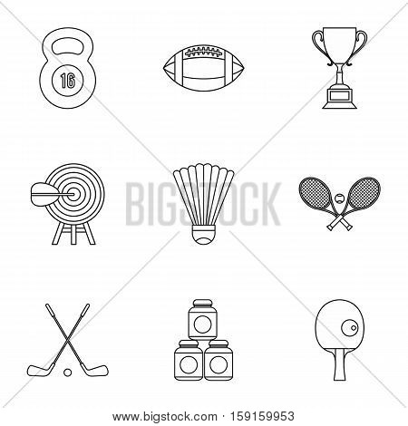 Training icons set. Outline illustration of 9 training vector icons for web