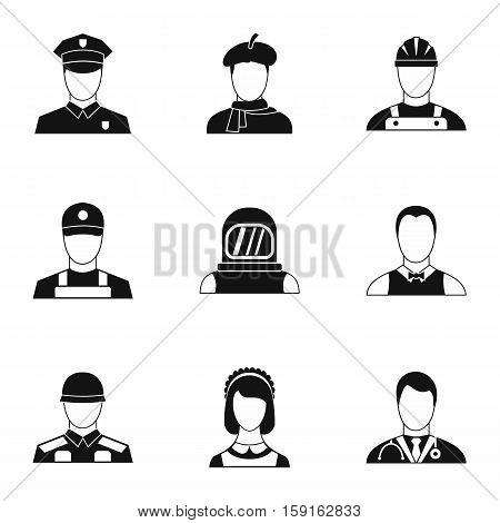 Profession icons set. Simple illustration of 9 profession vector icons for web