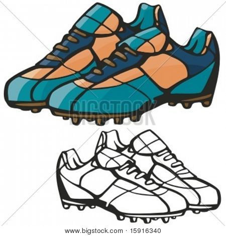 American football boots. Vector illustration