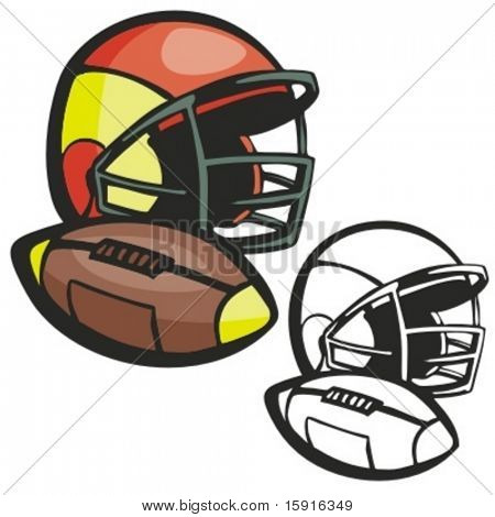 American football ball and a helmet. Vector illustration