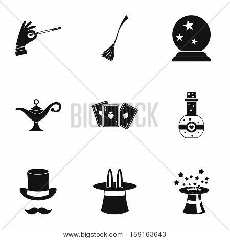 Tricks icons set. Simple illustration of 9 tricks vector icons for web