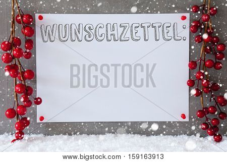 Label With German Text Wunschzettel Means Wish List. Red Christmas Decoration On Snow. Urban And Modern Cement Wall As Background With Snowflakes.