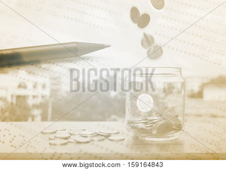 Double exposure stack of coins with account bank or bank book and account banking for finance concept Money and saving and finance concept Filter color