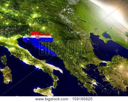 Croatia With Flag In Rising Sun