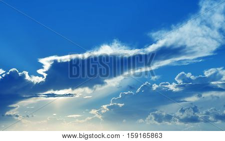Blue sky and clouds abstract background with copy space panoramic view