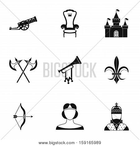 Medieval knight icons set. Simple illustration of 9 medieval knight vector icons for web