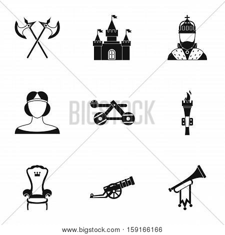 Military middle ages icons set. Simple illustration of 9 military middle ages vector icons for web