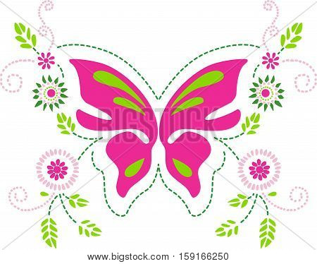 Scalable vectorial image representing a butterfly floral ornament, isolated on white.