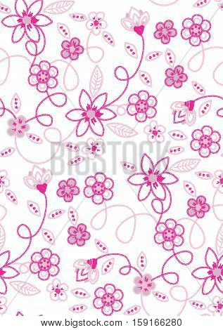 Scalable vectorial image representing a flower embroidery seamless pattern vector, isolated on white.