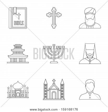 Religion icons set. Outline illustration of 9 religion vector icons for web