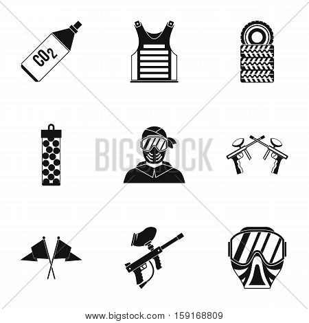 Shooting paintball icons set. Simple illustration of 9 shooting paintball vector icons for web