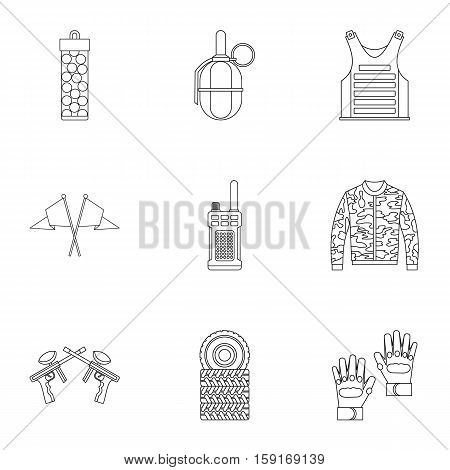 Shooting paintball icons set. Outline illustration of 9 shooting paintball vector icons for web