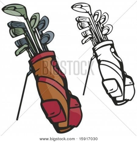 Golf sticks with a bag. Vector illustration