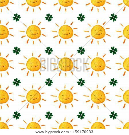 Childish Seamless Pattern With Suns And Clovers. Cute Smiling Sun Clover. Good Luck. Green Leaves. S