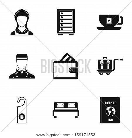 Staying in hotel icons set. Simple illustration of 9 staying in hotel vector icons for web
