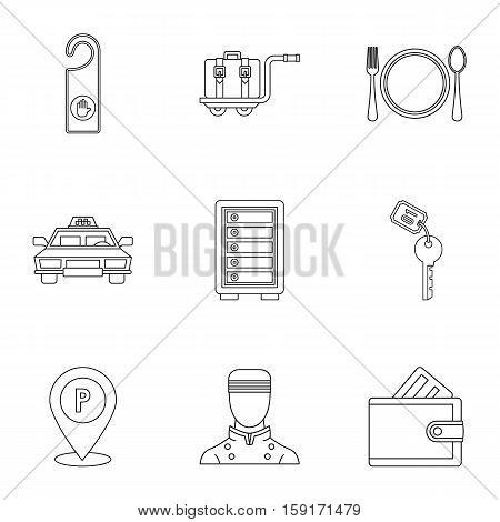 Hostel accommodation icons set. Outline illustration of 9 hostel accommodation vector icons for web