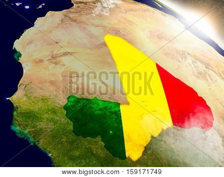 Mali With Flag In Rising Sun