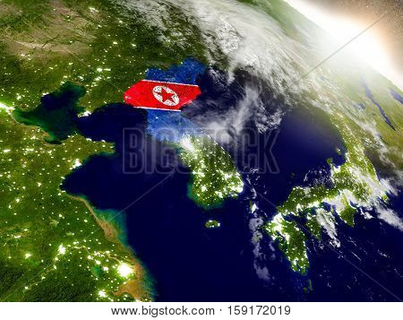 North Korea With Flag In Rising Sun