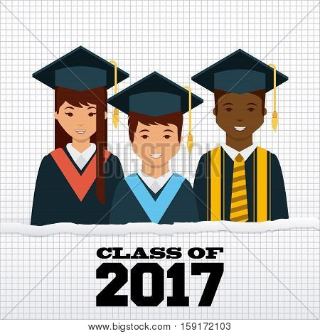 cartoon graduate people with graduation gown and hat. class of 2017 concept. colorful design. vector illustration