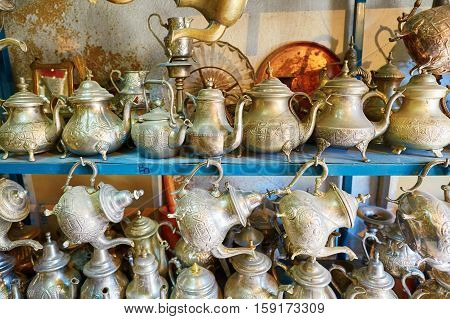 Selection Of Traditional Teapots On Moroccan Market