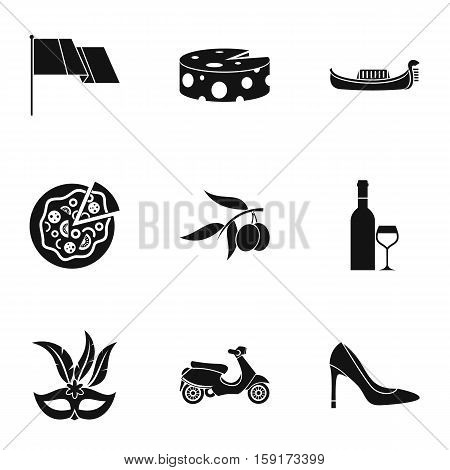 Attractions of Italy icons set. Simple illustration of 9 attractions of Italy vector icons for web